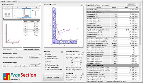Image de la fenêtre principale du logiciel PropSection